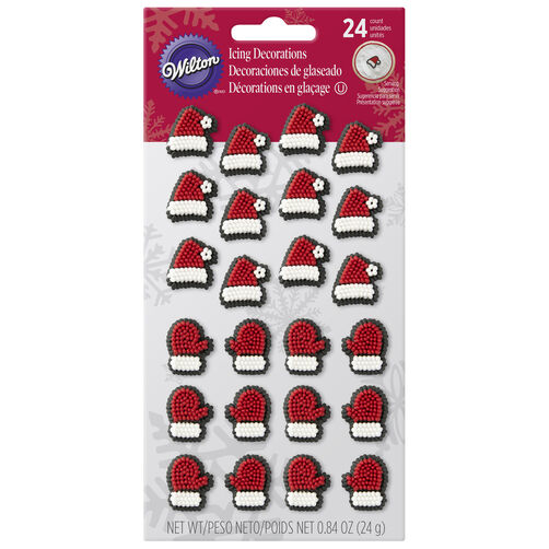 Santa Hats and Mittens Icing Decorations