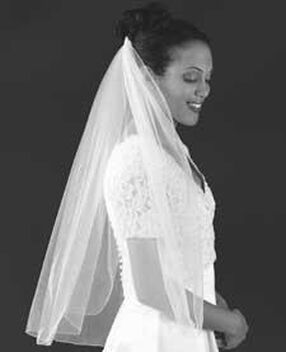 White Rolled Edge Wedding Veil