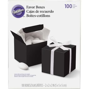 100 Black Square Favor Boxes