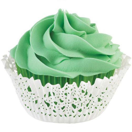 Green and White Doily Cupcake Liners & Wraps Set