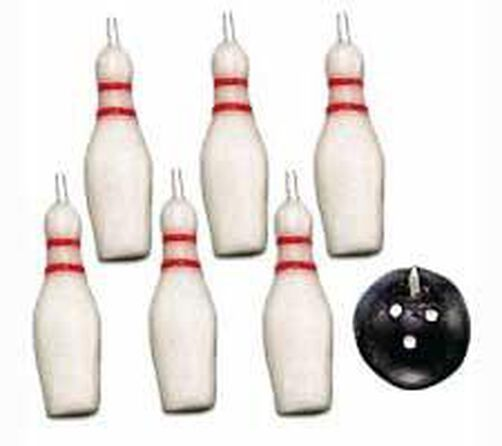 Bowling Pins and Ball 7-Piece Candle Set