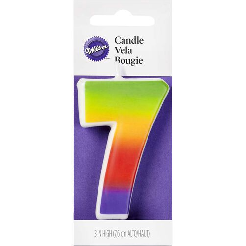 Number 7 Rainbow Birthday Candle