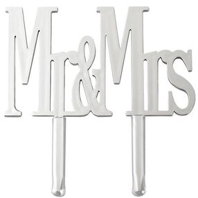 Mr. & Mrs. Silver Cake Pick