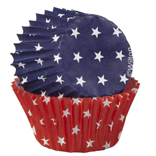 Red, White & Blue Mini Cupcake Liners