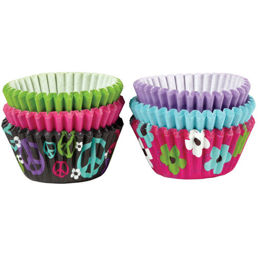 Peace and Flower Mini Cupcake Liners