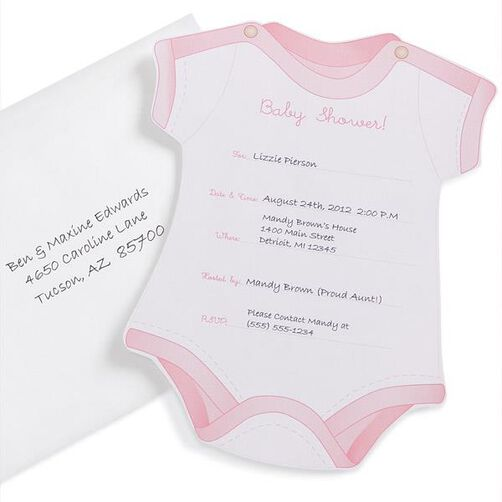 Pink Onesie Baby Shower Invitations
