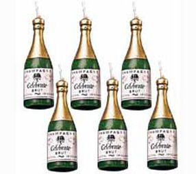 Champagne Bottles Candle Set