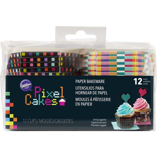 Pixel Cakes Hexagon Paper Baking Cups in packaging