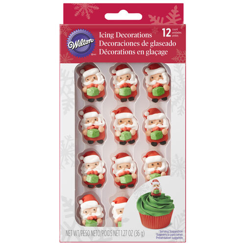 Santa with Present Icing Decorations