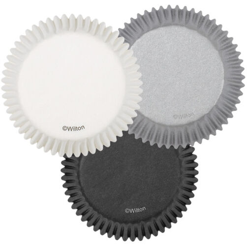 White, Black & Silver Cupcake Liners