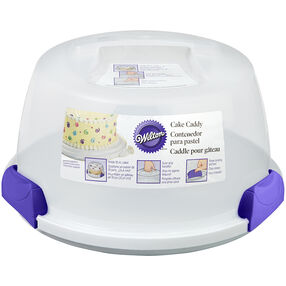 Portable Cake Caddy with Purple Handles