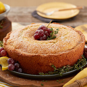 Lemon Thyme Cake with Grapes