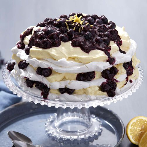 Layered Blueberry Lemon Pavlova