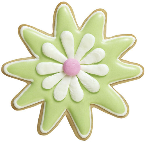 Doodled Daisy Star Flower Roll-Out Cookies