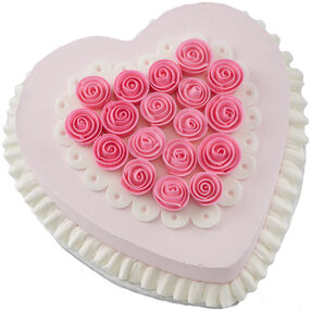 Ribbon Rose Heart Cake