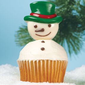Sir Snowy Candy-Topped Cupcakes