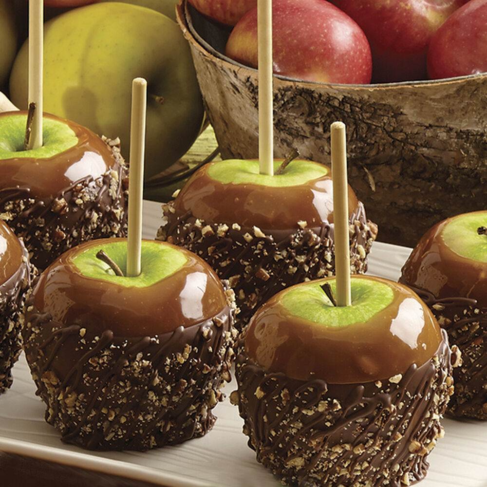 Pecan Caramel Apples Dipped In Candy Wilton