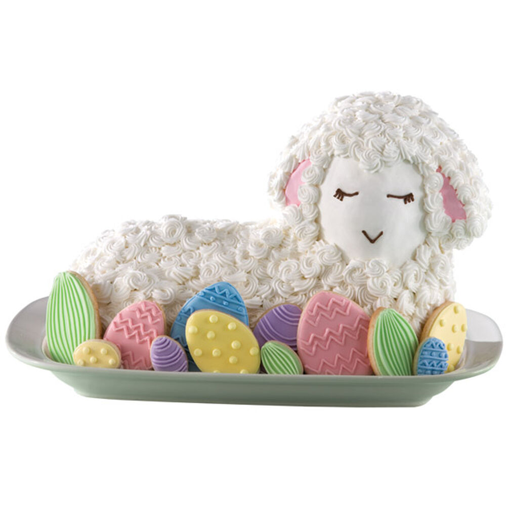 Fanciful Lamb Cake And Easter Egg Cookies Wilton