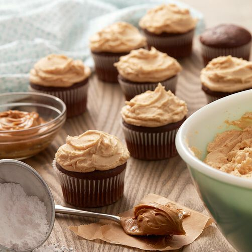 Chocolate cupcakes with peanut butter buttercream frosting