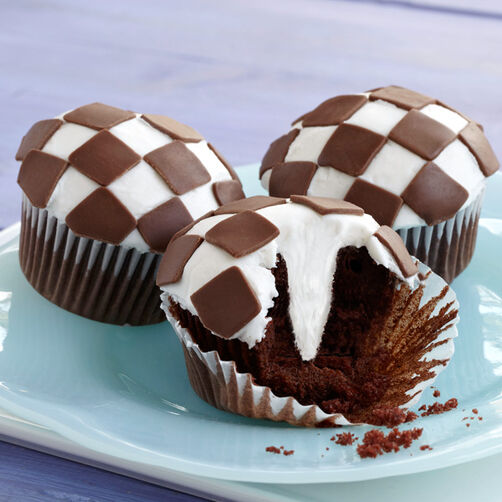 Checkerboard Candy Clay Cupcakes