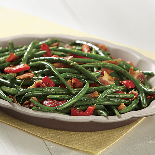 Balsamic Green Beans with Red Pepper and Bacon