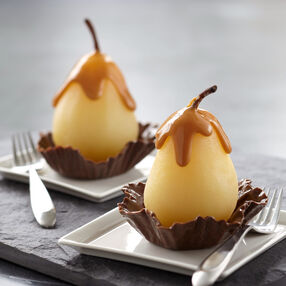 Poached Pear in Candy Cup