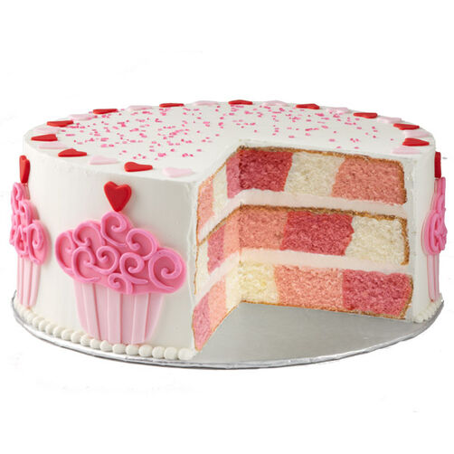 Cake with Hearts and Cupcakes