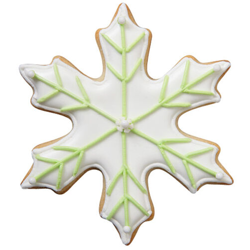 Green Outline Snowflake Cookie
