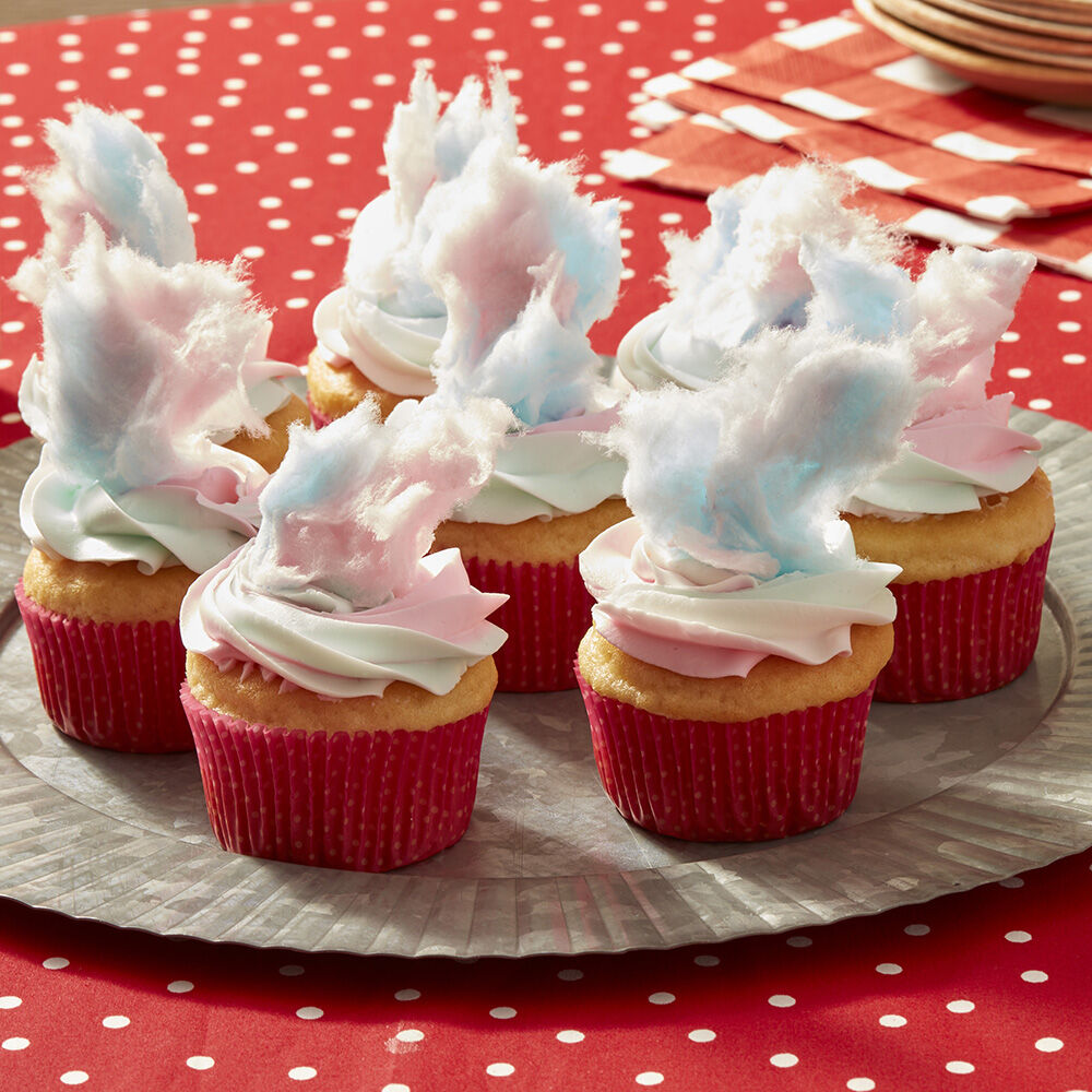 county fair cotton candy cupcakes - Decorating Baby Shower Cupcakes