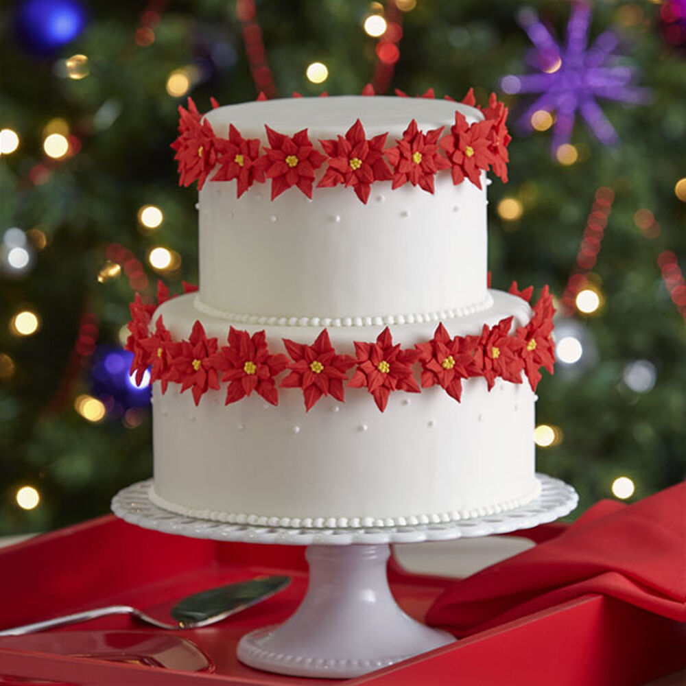 Two Tiered Poinsettia Cake
