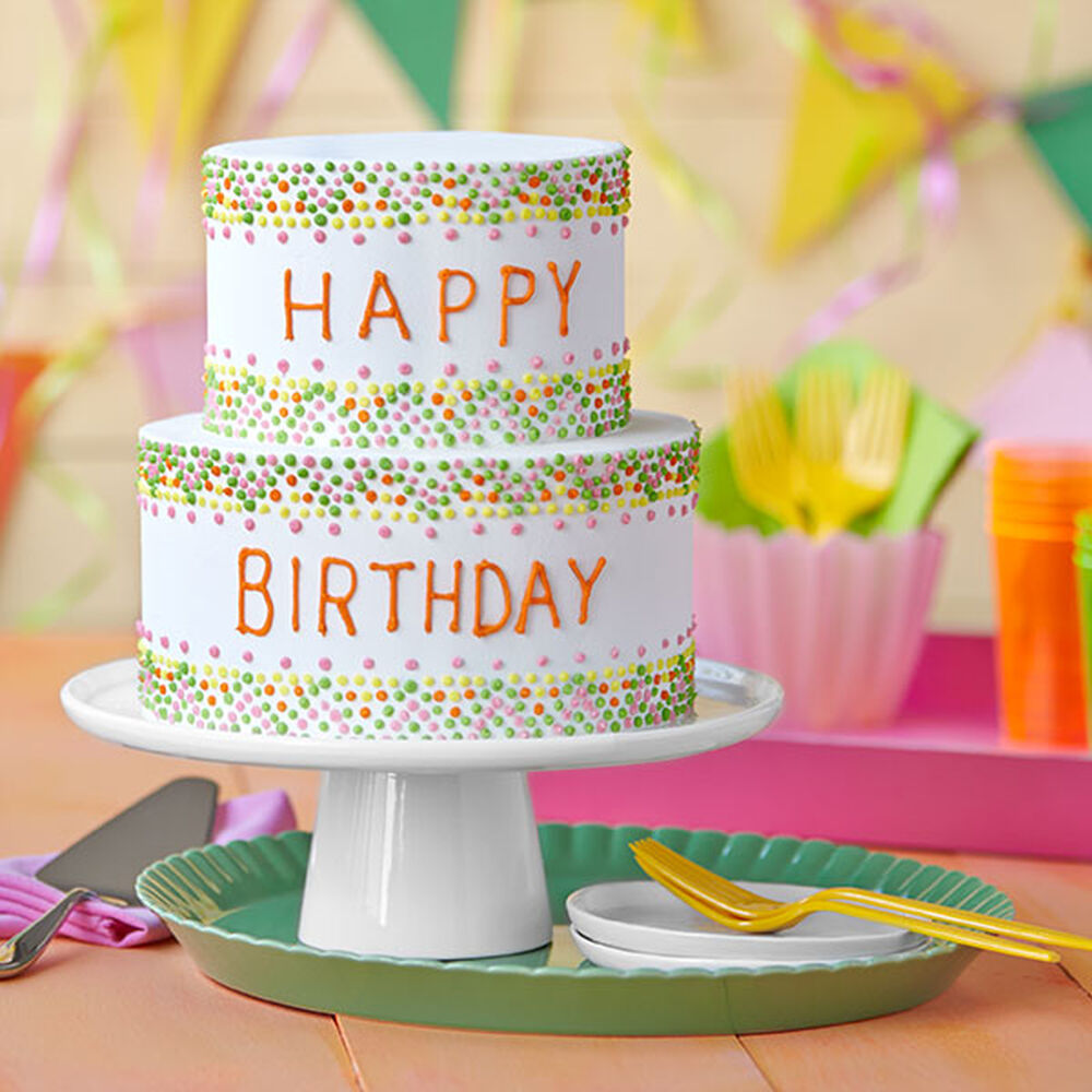 Easy Birthday Cake With Colorful Polka Dots Wilton
