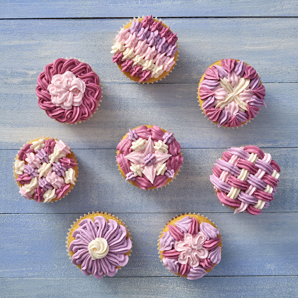 Eight ways to decorate with tip 340 wilton for Ideas for thanksgiving cupcake decorations