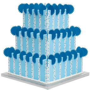 A Bounty of Blue Stars and Dots 3-Tiered Cake
