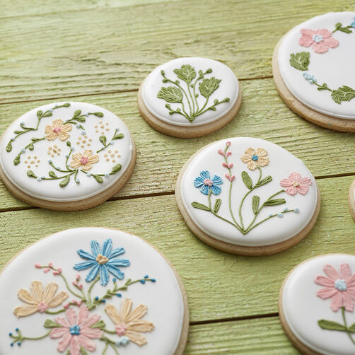 Mother's Day spring cookies with flower details drawn on with FoodWriter