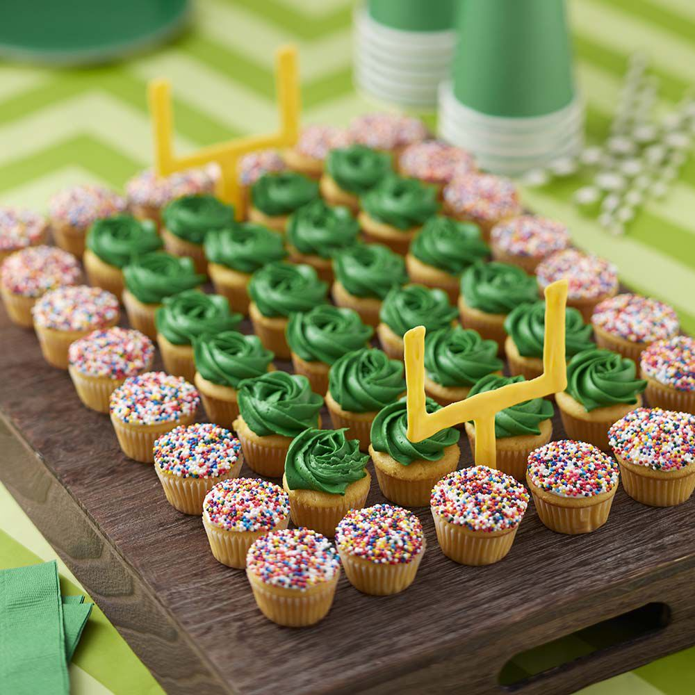 Game Day Football Field and Team Color Mini Cupcakes | Wilton