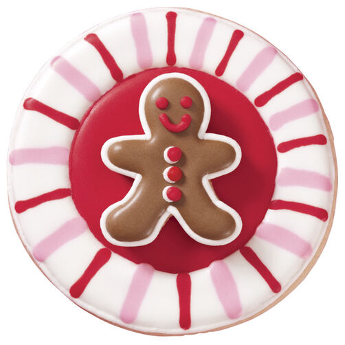 Ring in the Holidays Pink and Red Gingerbread Man Cookie