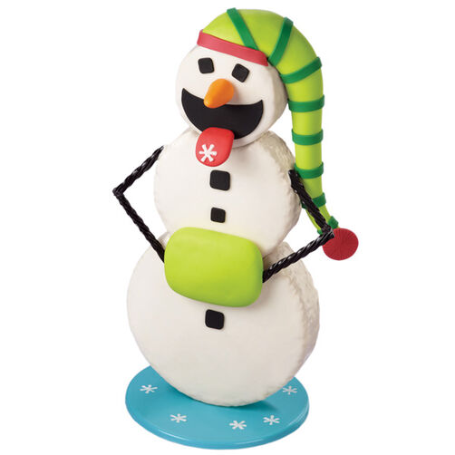 Snacking Snowman Cereal Treat Cake