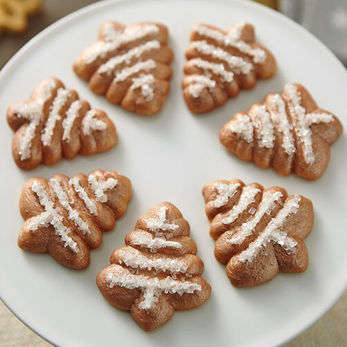 Metallic Christmas Tree Spritz Cookies