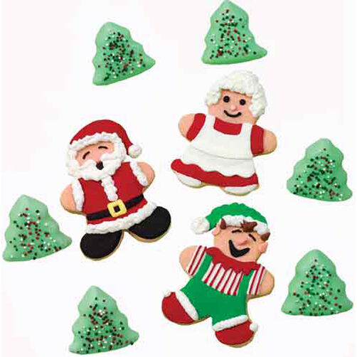 Mr. & Mrs. Claus, Elf and Tree Cookies