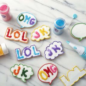Colorful thought bubble sanding sugar cookies