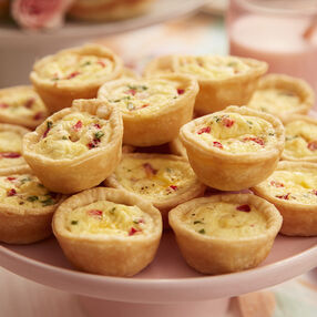Mini ham, chive, pimento, and cheese quiches