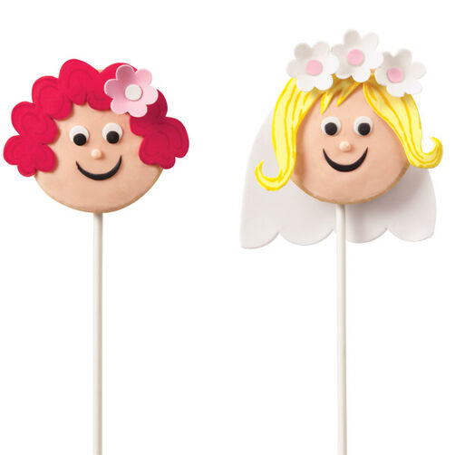 Here Come the Bride and Bridesmaid Cookie Pops!