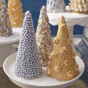Silver & Gold Sugar Cone Christmas Trees
