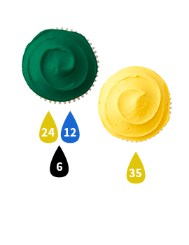 Green and Yellow Buttercream Icing Color Key