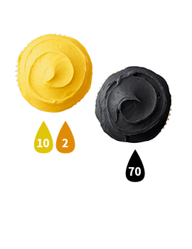 Yellow and Black Buttercream Icing Color Key