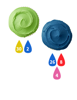 Green and Blue Buttercream Icing Color Key