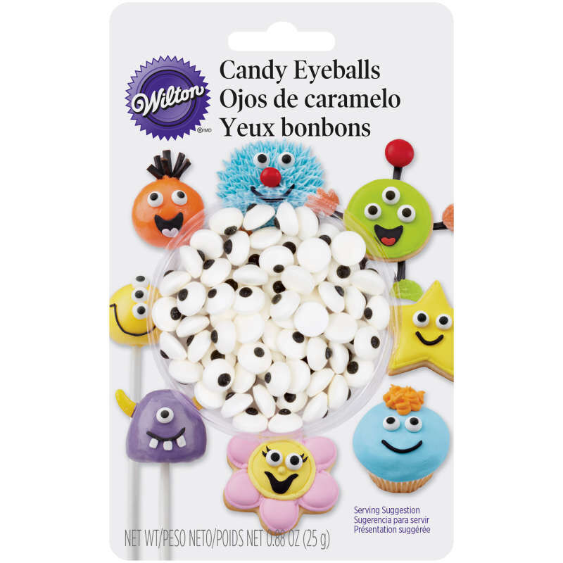 Edible Black and White Candy Eyeball Sprinkles, 0.88 oz. image number 0