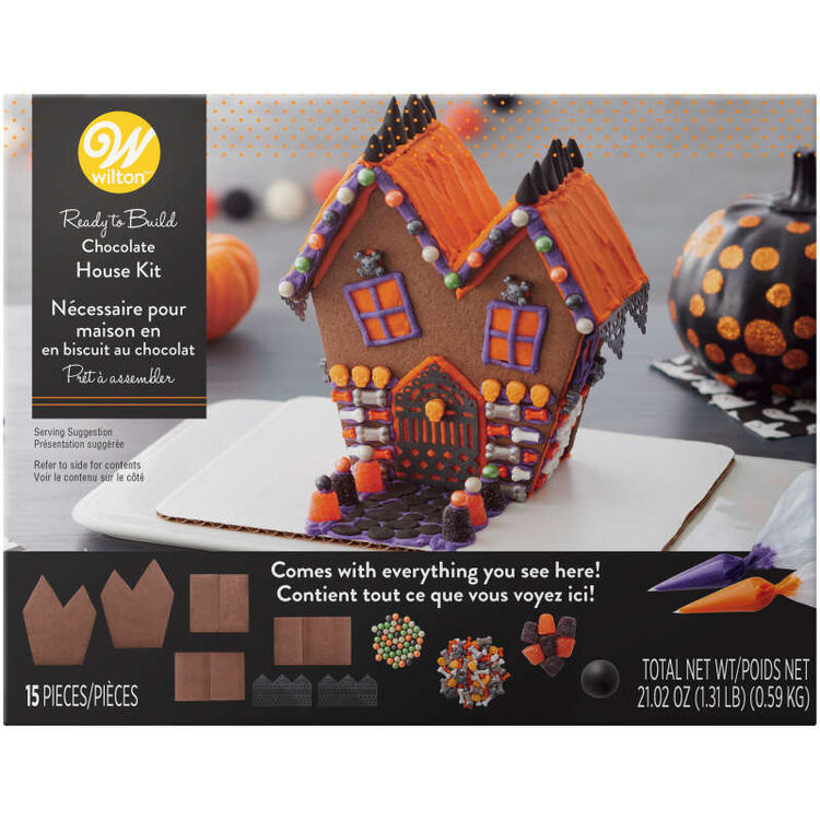 Ready-to-Build Chocolate Cookie Haunted House Kit, 15-Piece