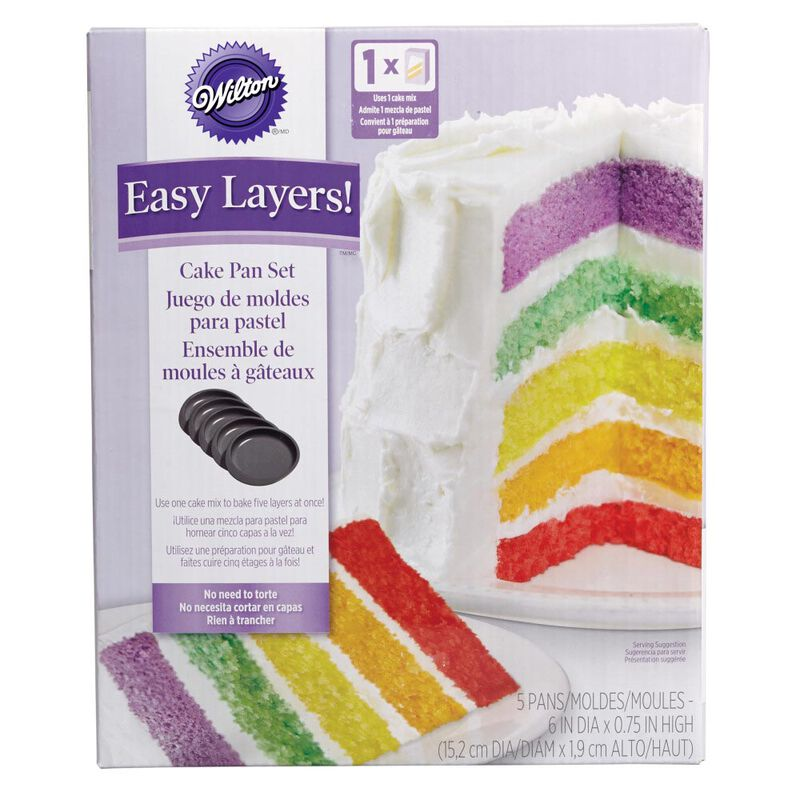 Wilton Easy Layers 5-Piece Layer Cake Pan Set, 6-Inch x .75-Inch