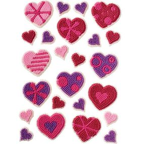 Patterned Hearts Icing Decorations